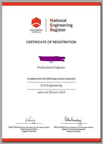 NER Certificate of resistration - professsional Engineer - flyabroad 飞出国